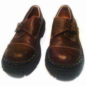 "London Underground Shoes - London Underground Womens 7 Brown Leather ""Monk"""